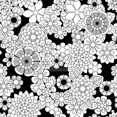 Tapeta Zentangle Kwiaty