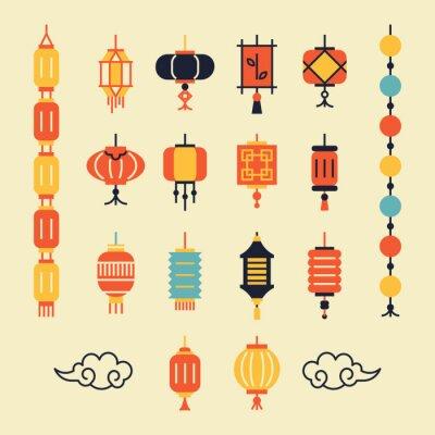 Tapeta Zestaw chińskich latarni.