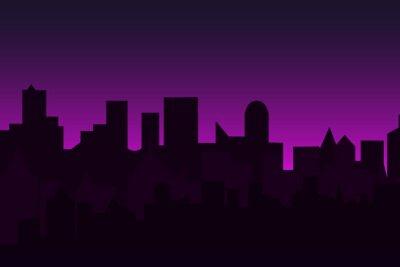 Tapeta Zestaw cityscape o świcie. Baner poziomy z panorama metropolii.