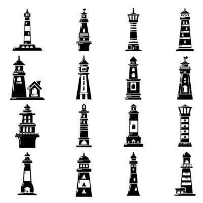 Tapeta Zestaw ikon latarnię morską, prosty styl