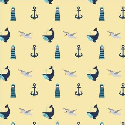 Tapeta zestaw morskich symbole bezszwowe wzór ikony wektorowych ilustracji