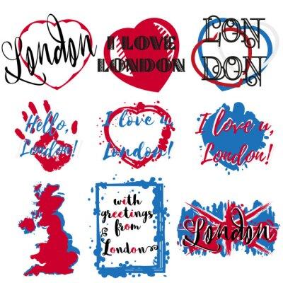 Tapeta Zestaw naklejek z napisem o Londynie i rozprysków farby serca w kolorze niebieskim bia? Ym czerwonym kolorze Wielkiej Brytanii na bia? Ym. Kolekcja nadruków pamiątkowych na tkaniny tekstylne, odzież,