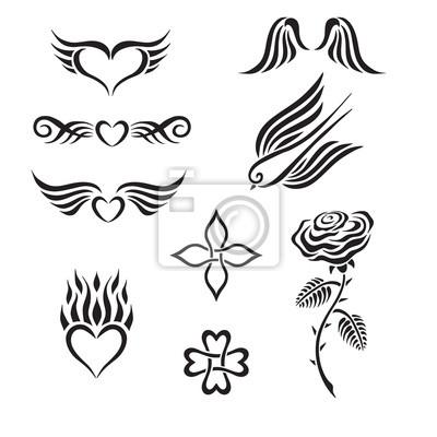 Tapeta Zestaw Plemiennych Tatuaż W Tym Serca Róża Swallow Skrzydełka