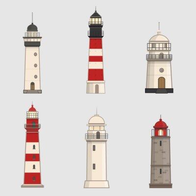 Tapeta Zestaw różnych latarni morskich na tle światła