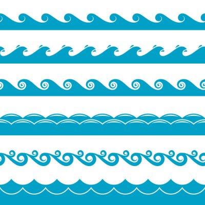 Tapeta zestaw symboli Woda fale wektorowe