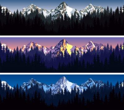 Tapeta Zestaw wektora Góry Las tekstury tła bez szwu wzór