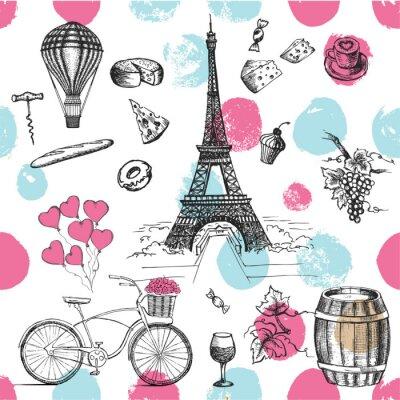 Tapeta Zestaw wyciągnąć rękę francuski ikony, Paryż szkic ilustracji