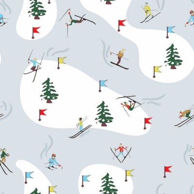 Tapeta Zimowy wzór na nartach