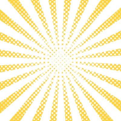 Tapeta Żółte promienie pop-art, tło wektorowe. Streszczenie komiczny styl, halftone efekt sunburst. Retro ray biały i żółty kolor