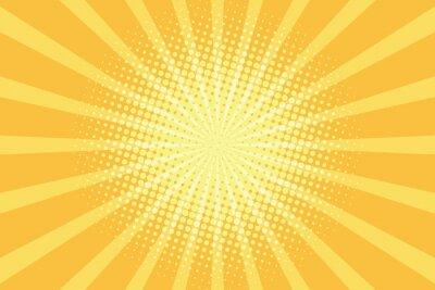 Tapeta Żółte tło promieni pop-art