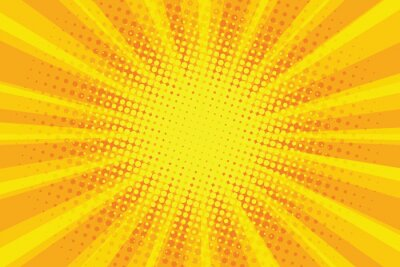 Tapeta Żółty pomarańczowy słońce pop sztuki retro promieni tła