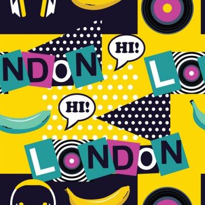 Tapeta Żółty pop sztuki bez szwu deseń London