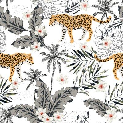 Tapeta Zwierzęta tropikalne lamparty, kwiaty plumeria, liście palmowe, drzewa, białe tło. Wektor wzór Graficzna ilustracja Kwiatowy wzór letniej plaży. Egzotyczne rośliny z dżungli. Rajska przyroda