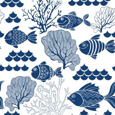 Tapeta Życie pod wodą. Jednolite wektora wzorca r? Cznie rysowane ryby. Morze kreskówek tle.
